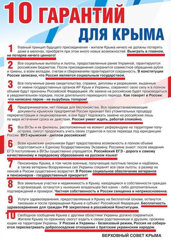 Новости Крымнаша. 10 гарантий для Крыма